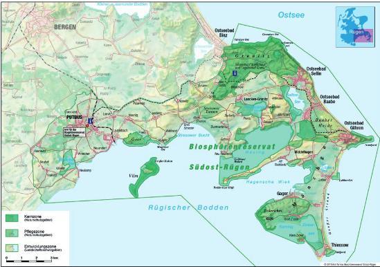 Rügen Karte.Unesco Biosphärenreservat Südost Rügen