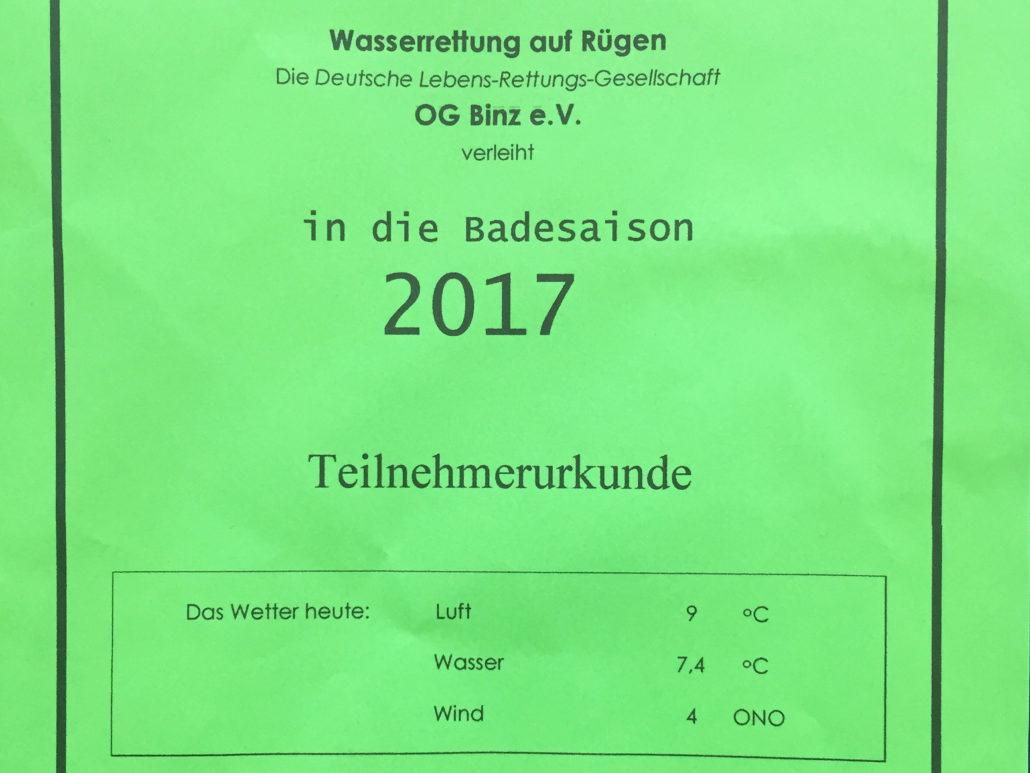 Teilnehmerurkunde Badesaison 2017