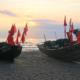 Ficherboote am Strand von Baabe